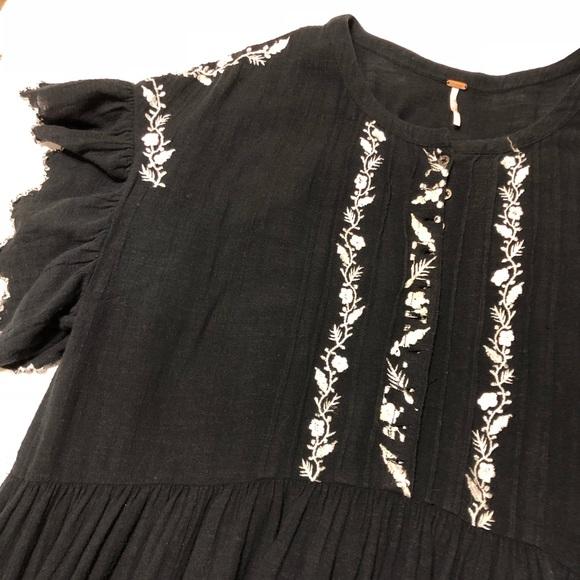 Free People Dresses & Skirts - Free People Santiago Embroidered Dress Black Sz L